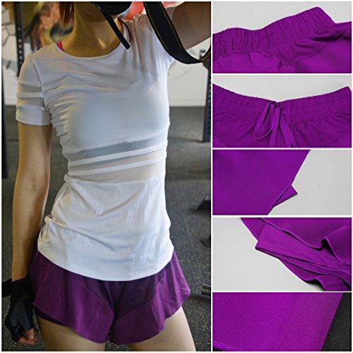 Bigood Femme Élastique Uni Pantalon Court Sport Souple Vogue Course Yoga Violet