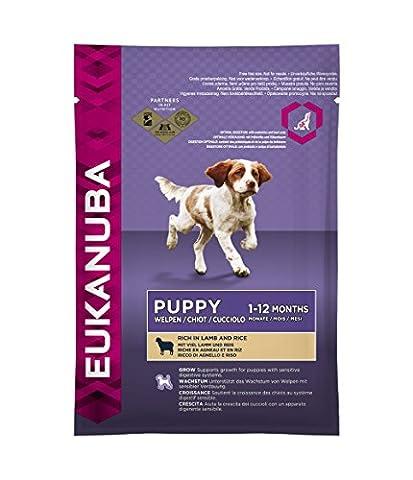 Eukanuba Puppy Lamm & Reis Alle Rassen, Trockenfutter für Welpen und junge Hunde, Probiergröße, Einzelbeutel, 100 (Aktion Welpen)
