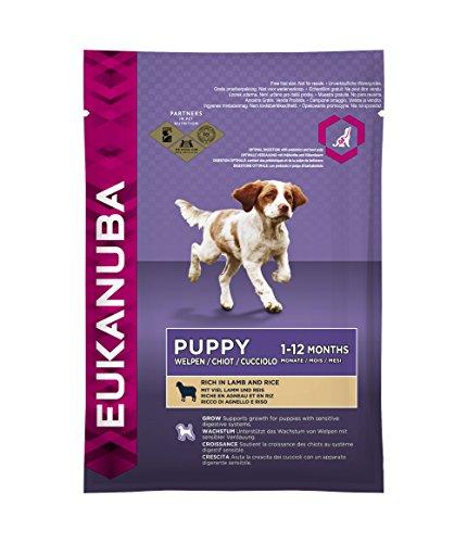 Eukanuba Puppy Lamm & Reis Alle Rassen, Trockenfutter für Welpen und junge Hunde, Probiergröße, Einzelbeutel, 100 g