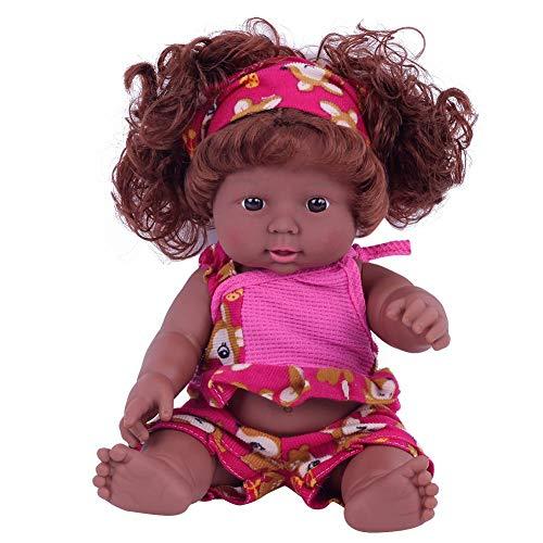 Muñeca africana de 30 cm para bebé, muñeca negra con pelo, juguete para niños, muñeca de silicona, regalo de cumpleaños rojo rojo