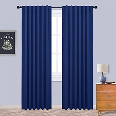 Blackout Window Curtain Thermal Insulated - PONYDANCE Soild Soft Rod Pocket & Back Tab Blackout Room Darkening Curtains / Drapes for Bedroom, 52