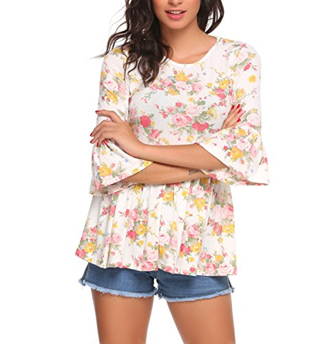 Beyove Damen Blumenmuster Langarmshirt Blusen Oberteil A-Linie Top Shirt Bluse mit 3/4 Trompetenärmel Weiß
