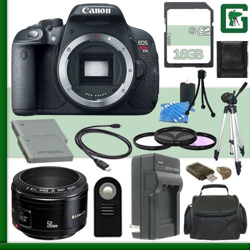 Canon EOS Rebel T5i Digital SLR Camera and 50mm f/1.8 Lens + 16GB Greens Camera Package 2
