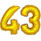 DekoRex® Folienballon Zahlenballon Heliumballon Luftballon Geburtstag Deko 120cm Zahl Gold 43