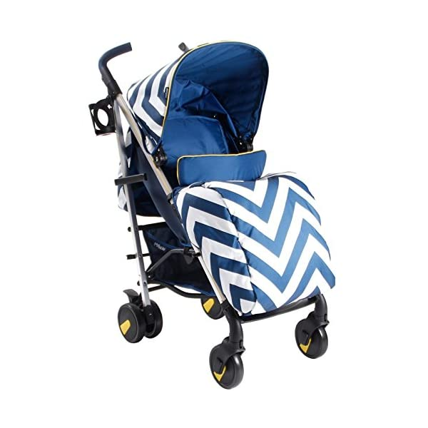 My Babiie MB51 Blue Chevron Stroller My Babiie Suitable from birth to maximum 15kg Extendable 3 position canopy Lockable swivel front wheels 1