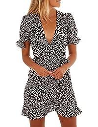 Challeng Ropa de Mujer Flor Imprimir Manga Corta Escote en V Verano Vestido Playa Falda con