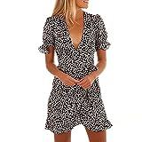 LUCKDE Damen Sommerkleid mit V-Ausschnitt, Jerseykleid Strandkleid Tag Dots Leichtes Kleid mit Pünktchen-Muster Abendkleider Kurz Jumpsuit Blusenkleid Minikleid Sommer Kleider (M, Schwarz)