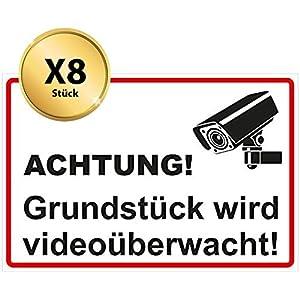 Aufkleber videoüberwacht - 8 Stück