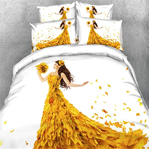 Herbst Schöne Maple Leaf Design Print Lady Bettbezug Set 3D Print Bettwäsche Quilt Fall Kissen Shams ,Queen/Full, Tan Yellow Orange (135 x 200 cm) - Camouflage Kissen Sham