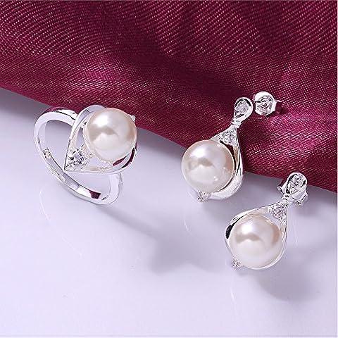 Mcitymall77 - Set di gioielli a goccia da donna, di alta qualità, in argento 925 e perle, con sacchetto regalo