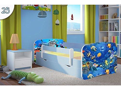 Kocot Kids Kinderbett Jugendbett 70x140 80x160 80x180 Blau mit Rausfallschutz Matratze Schublade und Lattenrost Kinderbetten für Junge - Fisch 160 cm