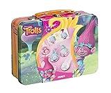 Trolls Bastel-Set Magnete – zum Selber Verzieren mit Stickern und Troll-Haaren, in tollem Metall-Koffer mit Trolls-Motiv