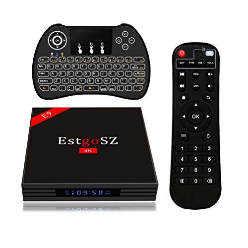 EstgoSZ Android 7.1 TV Box 4GB RAM 64GB ROM mit RK3328 Quad Core 64 Bit Prozeßor, 2.4GHz/5.0GHz Dual WiFi,Bluetooth 4.0,3D 4K Ultra HD Smart TV Box mit Backlit Keyboard
