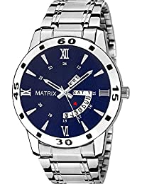 Matrix Silvermine Analog Blue Dial Wrist Watch Day And Date Display For Men & Boys- (DD-14)