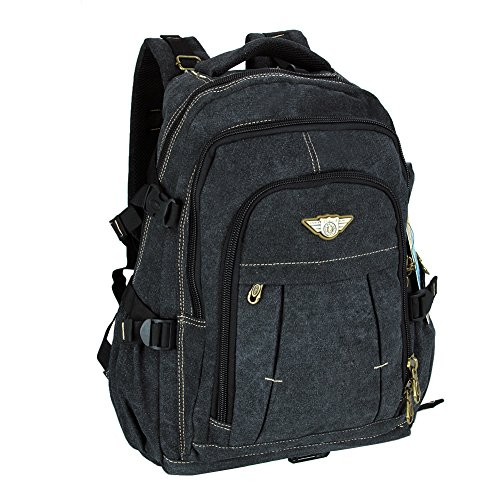 Mens Canvas Outdoor Sport Travel Hiking Rucksack Satchel Bag Schoolbag Laptop Backpack (Black)