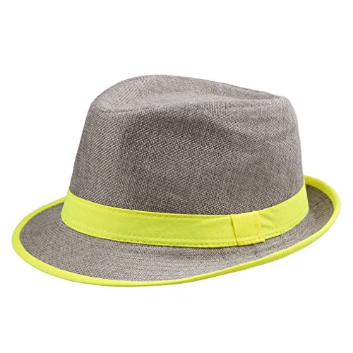 Martinad Damen Oder Herren Unisex Strip Strohhut Summer Neon Stilvolle Hut Unikat Collapsible Strand Cap Beach Holiday Safari Schirmmütze Hat (Color : Gelb DHV5, Size : One Size)
