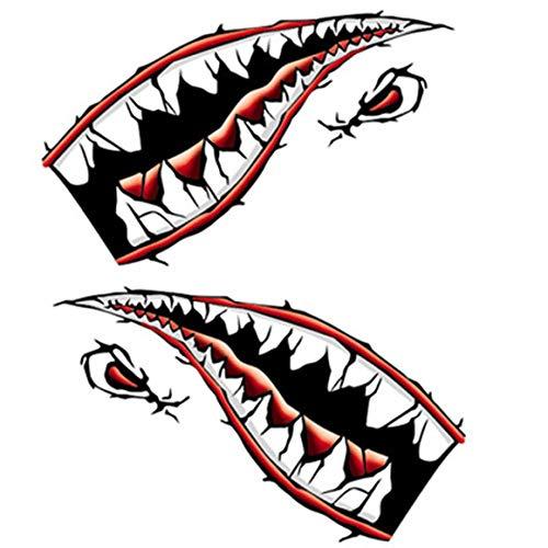 Funnyrunstore DIY Shark Mund Zahn Zähne Grafiken Auto Tür oder Kajak Aufkleber geprägt reflektierende Aufkleber (rot)
