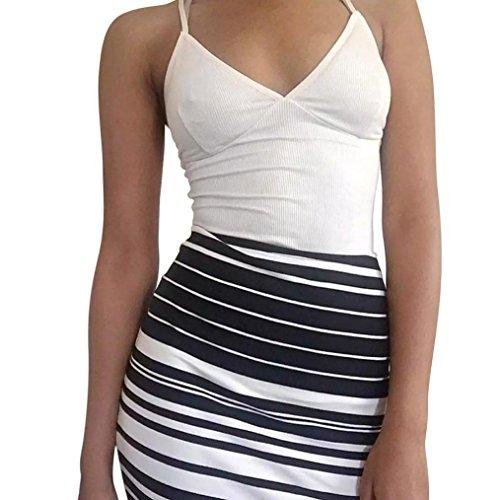 Femmes Hauts sans manches , Transer ® Sexy femmes tricotées Crop Tops Cami débardeurs courte chemise Blouse Blanc