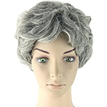 Las mujeres de moda corto ondulado rizado abuela gris peluca cosplay cotidiana Wearing