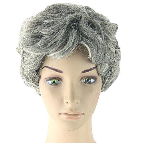 ewellt Oma Grau Cosplay Perücken Tägliche tragen (Oma-perücken)
