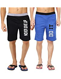 Hotfits Men's Multi-Coloured Graphic Cotton Shorts-bknvr-rbdoit