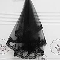 WYEING. Lace Edge Black Wedding Veils Bridal Veil 2 Tier Halloween Cosplay Witch Headwear Tulle Veils