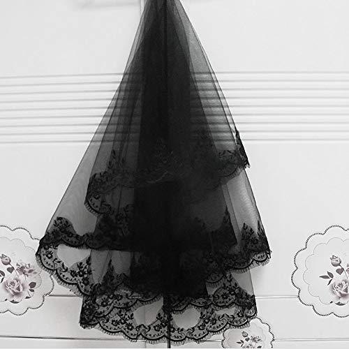 ge Ellenbogen Braut Schleier Hochzeit Schleier 2 Schicht Halloween Haar Hexe schwarz Kamm Schleier Cosplay Kostüm ()