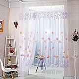 Flowers Print Translucent Curtains Windows Decor Tulle Sheer Drapes Purple