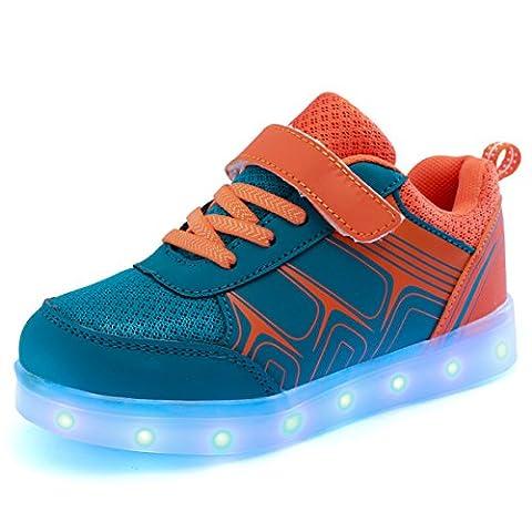 DoGeek - Boys Girls Light Up Shoes - LED Shoes USB Charge -7 Colors Led Light Trainers - 30 EU - Orange