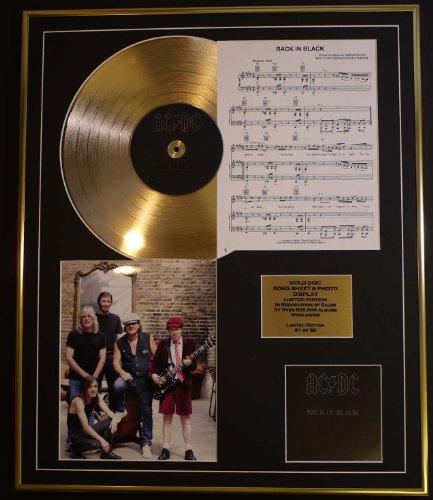 AC/DC /CD GOLD DISC UND PHOTO UND SONG SHEET DISPLAY/LIMITIERTE AUFLAGE/COA/ALBUM, BACK IN BLACK/SONG SHEET, BACK IN BLACK Platin-musik