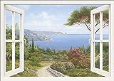 Artland Qualitätsbilder I Wandtattoo Wandsticker Wandaufkleber 130 x 90 cm Landschaften Fensterblick Malerei Weiß A8JH Fensterblick Haus am Meer I