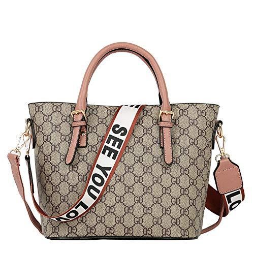 LFGCL Tasche weibliche Neue große Kapazität Mode Eimer Tasche europäischen und amerikanischen Stil Druck alte Blume Schulter Handtasche Tasche, Pinkbags -