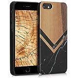 kwmobile Coque Apple iPhone 6 / 6S - Étui de Protection Rigide en Bois pour Apple iPhone 6 / 6S - Noir-Blanc-Brun foncé