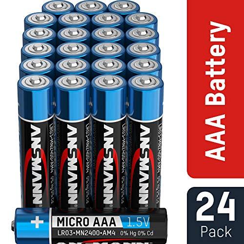 ANSMANN Batterien AAA 24 Stück - Alkaline Micro Batterie ideal für Lichterkette, LED Taschenlampe, Spielzeug, Fernbedienung, Wetterstation, Radio, Nachtlicht, Uhr - umweltschonende Verpackung Aaa-alkaline