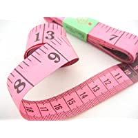 """Tailor's Tape Measure - 150 cm / 60"""" - Double-sided with cm and inches (Pink)"""
