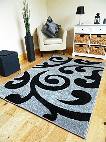 NEW SMALL MEDIUM XX LARGE MODERN BLACK AND SILVER CARVED QUALITY HALL RUNNER LIVING ROOM MAT CHEAP BEDROOM OFFICE SOFT RUG (200 X 290 CMS)