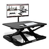 Duronic DM05D11 Estación de Trabajo para Monitor, Mesa Ordenador para Trabajar de Pie y Sentado con Altura Regulable 6 a 42 cm