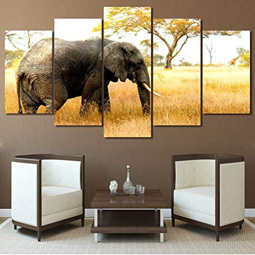 para la Sala de Estar Moderna HD Impreso Decoración5 Panel África Elefantes...
