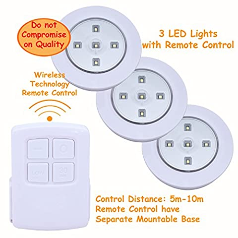 Denny International® 3PC LED SMD Light Battery Operated With Remote Control | Multi Use, Under Kitchen Cabinet, Stairs