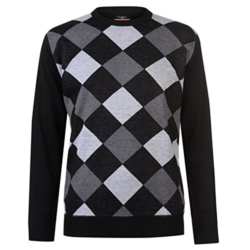 eue Saison V-Neck Pullover gestrickt Argyle (Schwarz / Holzkohle, Mittel) ()