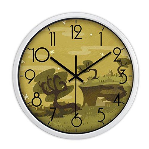 Horloges Montres Sweep Secondes Murale silencieuse métallique Quartz Ronde et Mute Convient pour Chambre et Salon (Color : Gold-A, Size : 35.5cm(14inch))
