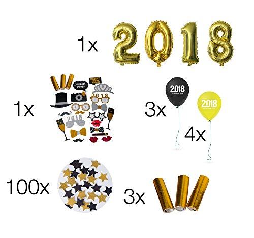 Silvester Party MEGA set 2018 Dekoration Deko - über 100 Teile - Fotorequisiten,Masken, Konfetti, Sterne, gold u. silber Ballons,Riesenballon, Luftschlangen für Neujahr, NEW YEAR / Silvester 2018