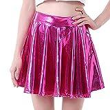 TIFIY Damen Tanzrock Mode A-line Röcke Ausgestelltes Gefaltetes Petticoat Unterrock Faux Leder Ballrock Retro Minirock Tellerrock (pink,Medium