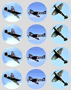 12 Spitfire aeroplane rice paper fairy / cup cake 40mm toppers pre cut cake decoration