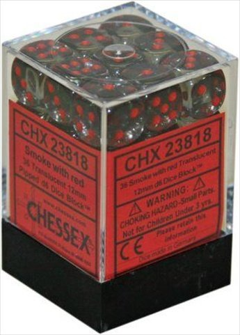 Würfelblock mit 36 Würfeln Translucent Rauch mit roten Punkten