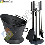 Set of 5pc Traditional Durable Black Cast Iron Fireplace Fireside Companion Set & Waterloo Coal Bucket Hod