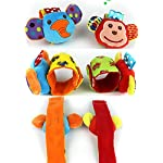 SKK Baby 4 Animal Wrist Rattle and Foot Finder Socks Set Development Toys Gift For Infant Boy Girl 6
