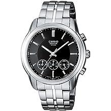 Casio BEM-504D-1AVEF - Reloj cronógrafo de caballero de cuarzo con correa de acero inoxidable plateada (cronómetro) - sumergible a 50 metros