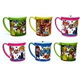 Laxmi collection fancy printed milk mugs with lid for kids, pack of 6