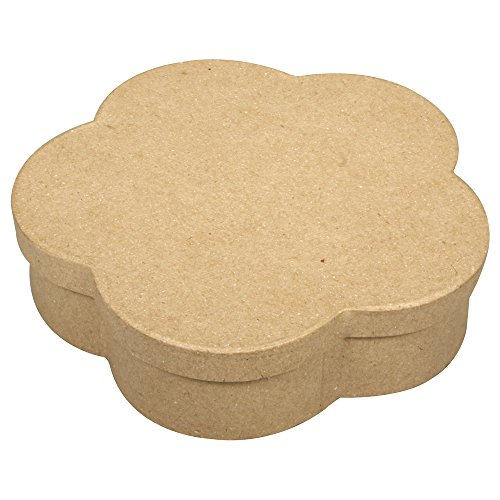 RAYHER 71826000 Pappmaché Boxen Set, FSC recycled 100%, Blume 15,5 x 15,5 x 4 cm, Herzen 6 x 6 x 3,5 cm
